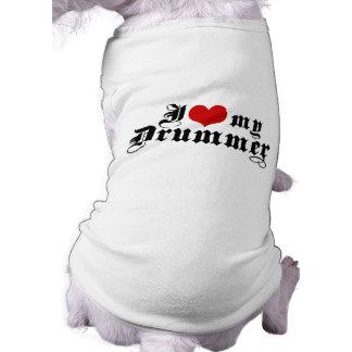 I Love My Drummer Pet T Shirt