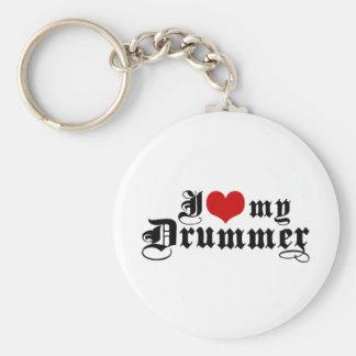 I Love My Drummer Basic Round Button Keychain