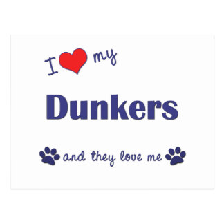 I Love My Dunkers (Multiple Dogs) Postcard