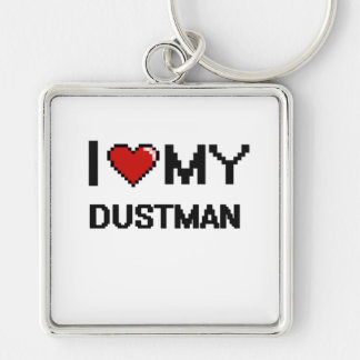 I love my Dustman Silver-Colored Square Keychain