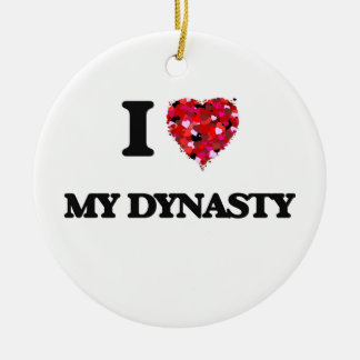 I Love My Dynasty Double-Sided Ceramic Round Christmas Ornament
