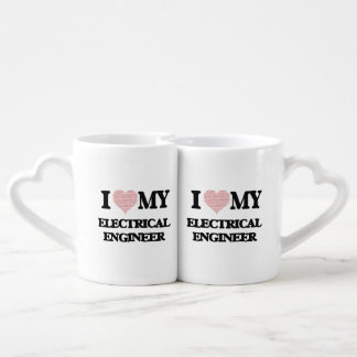 I love my Electrical Engineer (Heart Made from Wor Couples' Coffee Mug Set