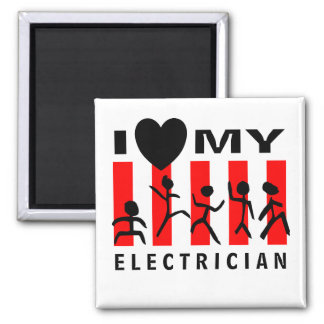 I Love My Electrician 2 Inch Square Magnet