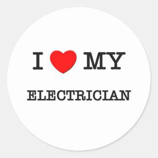 I Love My ELECTRICIAN Classic Round Sticker