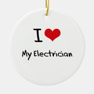 I love My Electrician Double-Sided Ceramic Round Christmas Ornament