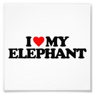 I LOVE MY ELEPHANT ART PHOTO