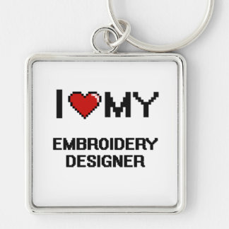 I love my Embroidery Designer Silver-Colored Square Keychain