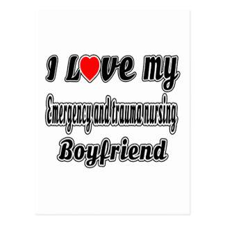 I Love My Emergency and trauma nursing Boyfriend Postcard