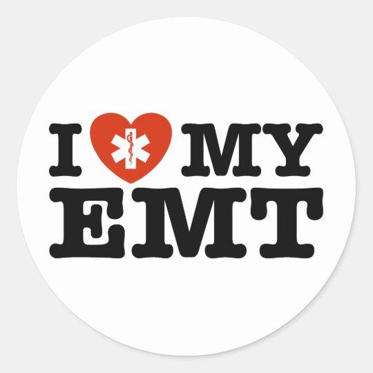 I Love My EMT Classic Round Sticker