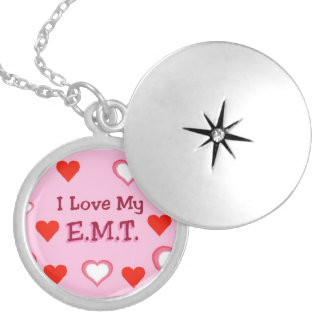I Love My EMT Round Locket Necklace