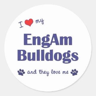 I Love My EngAm Bulldogs (Multiple Dogs) Classic Round Sticker