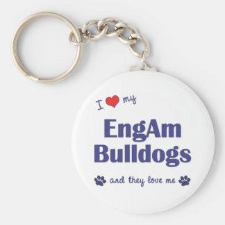 I Love My EngAm Bulldogs (Multiple Dogs) Keychain