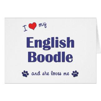 I Love My English Boodle (Female Dog) Greeting Card