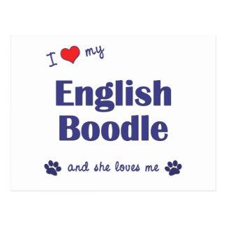 I Love My English Boodle (Female Dog) Postcard