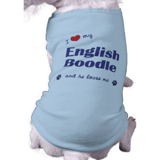 I Love My English Boodle (Male Dog) Pet Tee Shirt