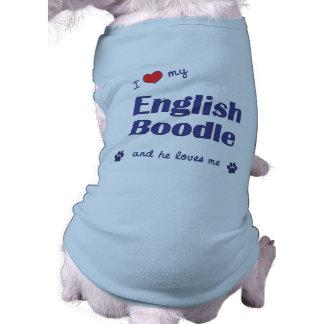 I Love My English Boodle (Male Dog) Pet Tee Shirt