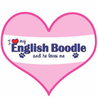 I Love My English Boodle (Male Dog) Photo Cut Out