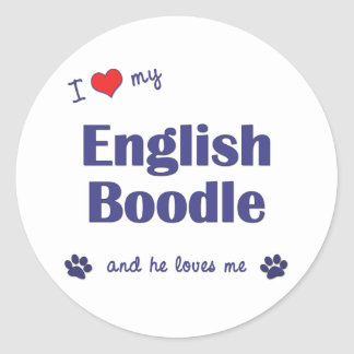 I Love My English Boodle (Male Dog) Round Sticker