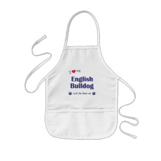I Love My English Bulldog (Female Dog) Kids' Apron