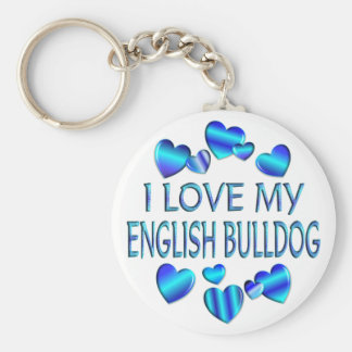 I Love My English Bulldog Keychain