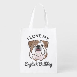 """""""I Love My English Bulldog"""" Reusable Grocery Tote Reusable Grocery Bag"""