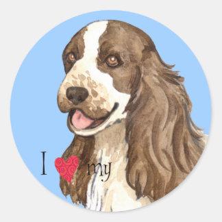 I Love my English Cocker Spaniel Classic Round Sticker