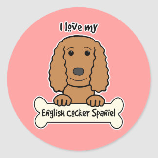 I Love My English Cocker Spaniel Round Stickers