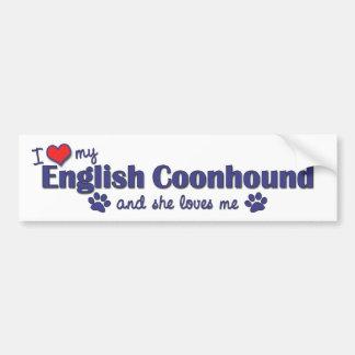 I Love My English Coonhound (Female Dog) Car Bumper Sticker