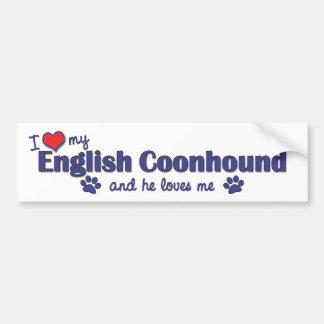 I Love My English Coonhound (Male Dog) Car Bumper Sticker
