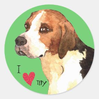 I Love my English Foxhound Classic Round Sticker