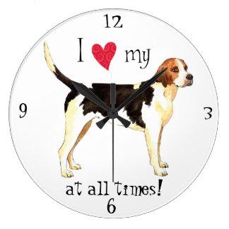 I Love my English Foxhound Large Clock