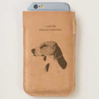 I Love My English Foxhound - leather iPhone 6/6S Case