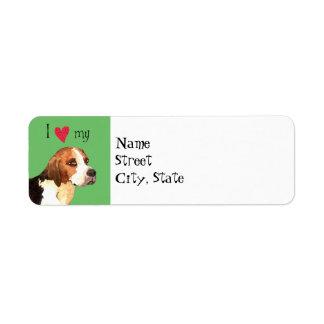 I Love my English Foxhound Return Address Label