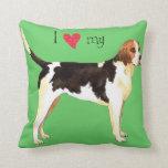 I Love my English Foxhound Throw Pillows