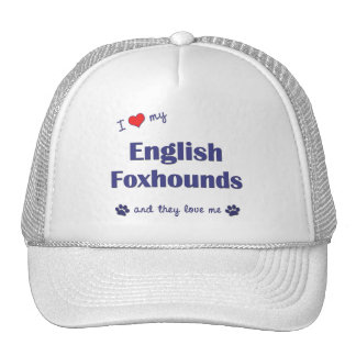 I Love My English Foxhounds (Multiple Dogs) Mesh Hats
