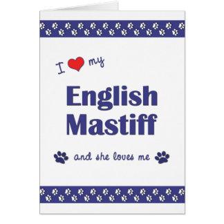 I Love My English Mastiff (Female Dog) Stationery Note Card