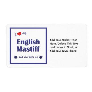 I Love My English Mastiff (Female Dog) Shipping Label