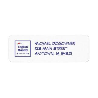 I Love My English Mastiff (Female Dog) Return Address Label