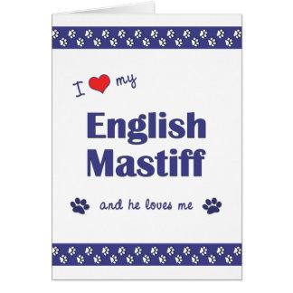 I Love My English Mastiff (Male Dog) Stationery Note Card