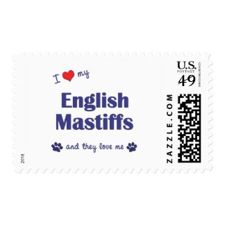 I Love My English Mastiffs (Multiple Dogs) Postage Stamp