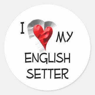 I Love My English Setter Classic Round Sticker