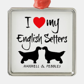I Love My English Setter Dogs Metal Ornament