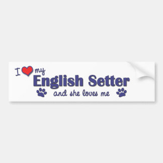 I Love My English Setter (Female Dog) Bumper Sticker