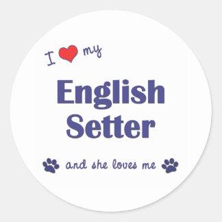 I Love My English Setter (Female Dog) Classic Round Sticker