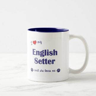 I Love My English Setter (Female Dog) Two-Tone Coffee Mug