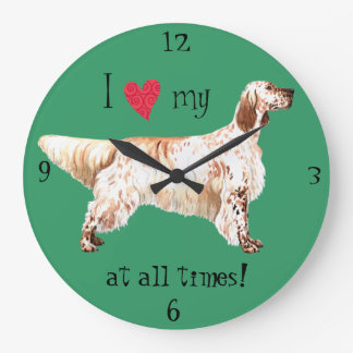I Love my English Setter Large Clock