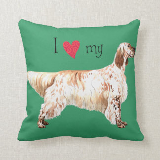 I Love my English Setter Throw Pillow