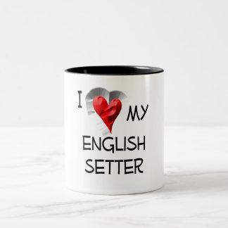 I Love My English Setter Two-Tone Coffee Mug