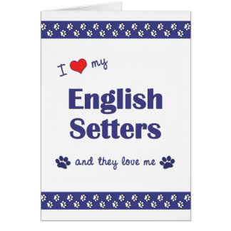 I Love My English Setters (Multiple Dogs) Card