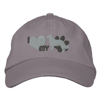 I Love my English Shepherd Embroidered Hat Gray
